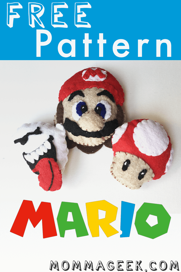 These Mario, power up mushroom and boo felts are easy to make and include a free pattern.