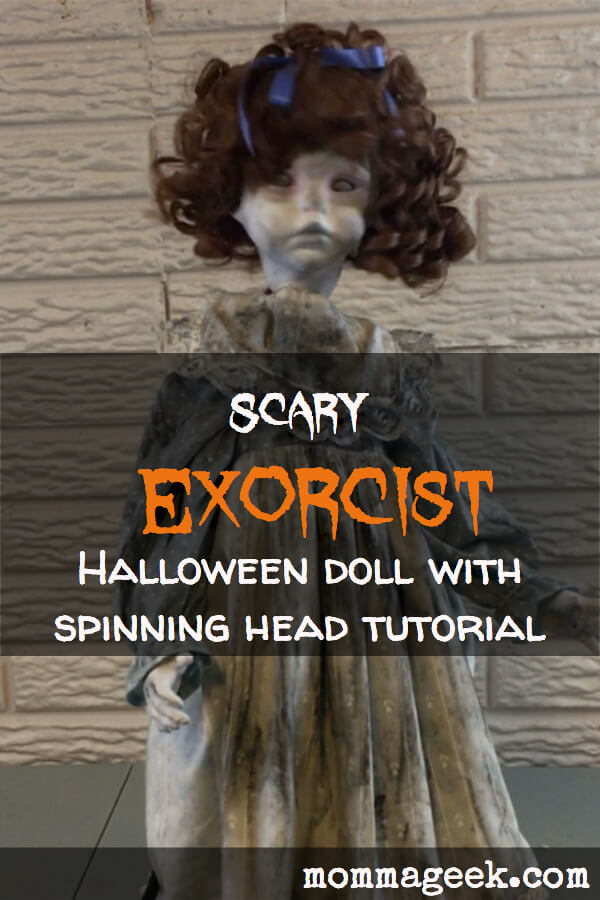 scary Exorcist Halloween with spinning head doll