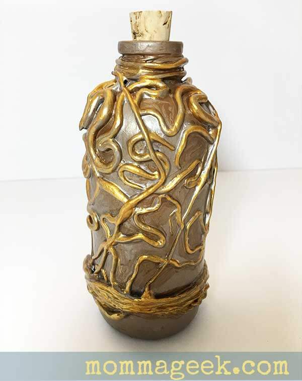 Bottle painted with gold detail