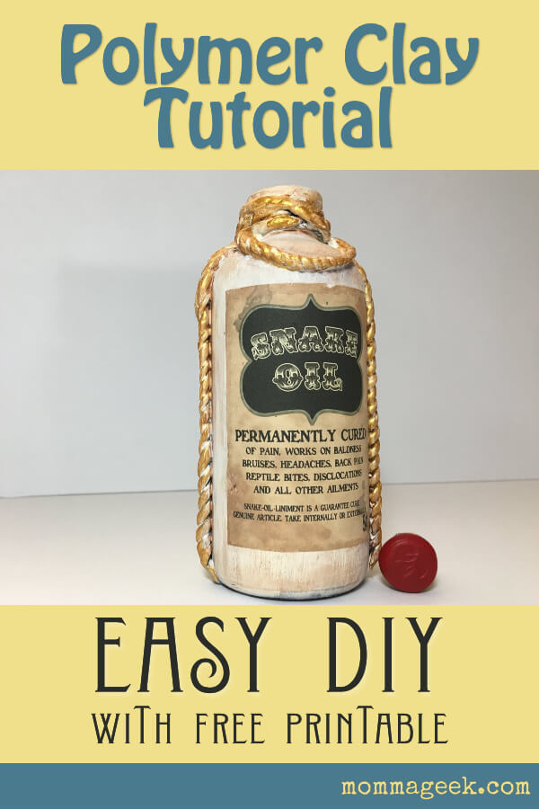 Polymer Clay Snake Oil Bottle