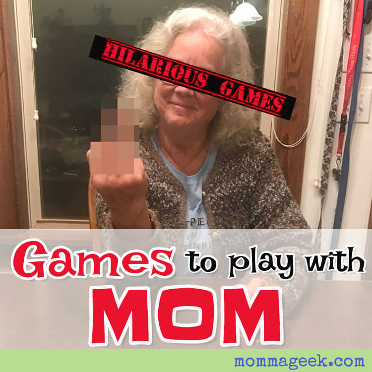 Older mother, grandmother flipping the bird while playing a game